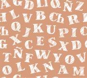 Spanskt alfabet, sömlös modell som skuggar blyertspennan, brunt, vektor Royaltyfria Bilder