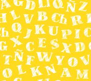 Spanskt alfabet, sömlös modell som skuggar blyertspennan, guling, vektor Royaltyfria Bilder