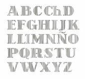 Spanskt alfabet, versalar, den vertikala skuggningen med en blyertspenna, simulering, vektor vektor illustrationer