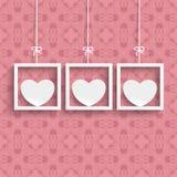 Spante 3 weiße Herz-Verzierungen vektor abbildung