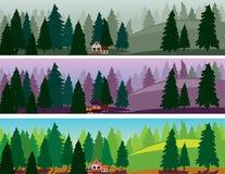 Spar bos drie banners, mist, dageraad, dag royalty-vrije illustratie