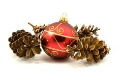 Spar-kegels met Kerstmissnuisterij Royalty-vrije Stock Fotografie
