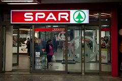 Spar logo on one of their Supermarkets. Spar is a Dutch franchise of retailers and wholesalers, operating worldwide. Logo of Spar on one of their supermarkets of Royalty Free Stock Images