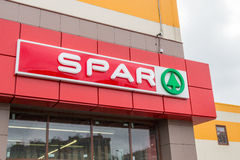 SPAR supermarket retail chain logo. St. Petersburg, Russia - July 29, 2016: SPAR supermarket retail chain logo royalty free stock photo