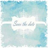 Spara bakgrunden för bröllop för ljus färg för datumblått Söt tappning Royaltyfri Foto