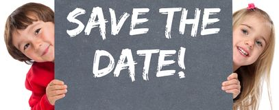 Spara chilen för barn för information om affären för datuminbjudanmeddelandet arkivfoton