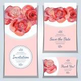 Spara datum- eller bröllopinbjudanmallarna med röda rosor royaltyfri illustrationer