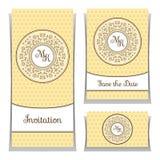 Spara datum- eller bröllopinbjudanmallen med eleganta prydnadbeståndsdelar vektor illustrationer