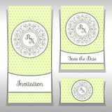Spara datum- eller bröllopinbjudanmallen med eleganta prydnadbeståndsdelar royaltyfri illustrationer