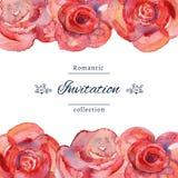 Spara datum- eller bröllopinbjudanmallen med rosor vektor illustrationer