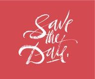Spara datumbokstäver Dragen kalligrafi för borstepenna hand Bröllopinbjudantext Modern inskrift med krusidullar Royaltyfri Foto
