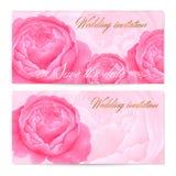 Spara datumbröllopinbjudan/det blom- hälsningkortet (presentkort/kupong) med pioner för vektorvattenfärgblommor, steg Arkivfoto