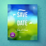 Spara datumbröllopmallen för vårbröllop Arkivbilder