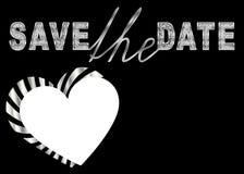 Spara datumdesignen för beställnings- foto och text royaltyfri illustrationer