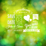 Spara datumet för personlig ferie Bröllopinbjudan som är suddig stock illustrationer