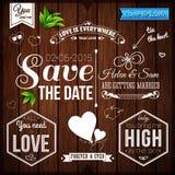 Spara datumet för personlig ferie Gifta sig som är fastställt på träbackgr royaltyfri illustrationer