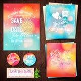 Spara datumet för personlig ferie Uppsättning av bröllopinbjudan ca Arkivbilder