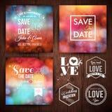 Spara datumet för personliga feriekort Bröllopinbjudanuppsättning arkivbild
