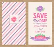 Spara datumet som gifta sig inbjudankortet Arkivbild