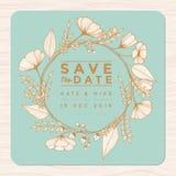 Spara datumet som gifta sig inbjudankortet med mallen för blommakransbakgrund i guld- färg Blom- bakgrund för blomma royaltyfri illustrationer