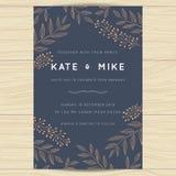 Spara datumet som gifta sig inbjudankortmallen med blom- bakgrund för kopparfärgblomman vektor illustrationer
