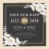 Spara datumet som gifta sig inbjudankortmallen med handen dragen blom- bakgrund för blomman tappning för stil för illustrationlil vektor illustrationer