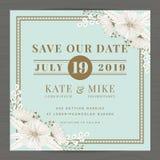 Spara datumet som gifta sig inbjudankortmallen med handen dragen blom- bakgrund för blomman tappning för stil för illustrationlil Royaltyfria Foton