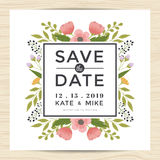 Spara datumet som gifta sig inbjudankortmallen med handen dragen stil för kransblommatappning Blom- bakgrund för blomma