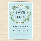 Spara datumet som gifta sig inbjudankortmallen med handen dragen stil för kransblommatappning Blom- bakgrund för blomma stock illustrationer