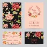 Spara datumet - uppsättningen för bröllopinbjudan- eller lyckönskankortet royaltyfri illustrationer