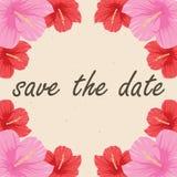 Spara datumkortet med blommahibiskusen Stock Illustrationer
