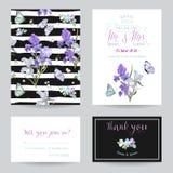 Spara datumkortet med Iris Flowers och fjärilar Blom- uppsättning för bröllopinbjudanmallar Botanisk design för hälsningkort royaltyfri illustrationer