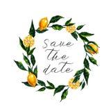 Spara datumkortet med vattenfärgcitronkransen stock illustrationer