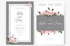 Spara datumkortet som gifta sig inbjudan, hälsningkortet med härliga blommor och bokstäver royaltyfri illustrationer