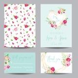 Spara datumkortuppsättningen med rosa blommor för blomningen och guld- beståndsdelar Bröllopinbjudan, årsdagparti, garnering royaltyfri illustrationer