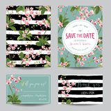 Spara datumkortuppsättningen Tropiska orkidéblommor och sidor som gifta sig inbjudan vektor illustrationer