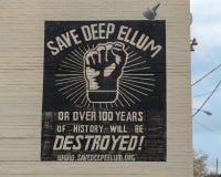 Spara den djupa väggmålningen för Ellum väggkonst i djupa Ellum, Dallas, Texas Royaltyfri Bild