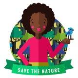 Spara den naturvektorkortet och bakgrunden med afrikansk amerikanflickan, fågeln, grönt band stock illustrationer