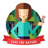 Spara den naturvektorkortet och bakgrunden med brunettflickan, fågeln, det röda bandet och skogen stock illustrationer