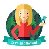 Spara den naturvektorkortet och bakgrunden med den blonda flickan, fågeln, strumpebandsorden och skogen royaltyfri illustrationer