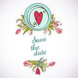 Spara det blom- kortet för datumet. Tappninginbjudan. Royaltyfri Illustrationer