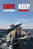 Spara elefanterna - håll jämvikten royaltyfri illustrationer