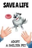 Spara ett liv Adoptera ett skyddhusdjur Gullig hund och m?rkaaffisch f?r isolerade husdjurskydd vektor illustrationer