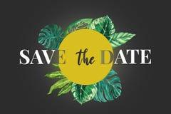 Spara för bröllopinbjudan för datumet det moderna kortet Lyxfärger och modern typografi författare blommar vattenfärg för I-målni Royaltyfri Illustrationer
