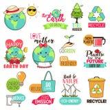 Spara för jorddagen för jord den lyckliga Cliparts illustrationen royaltyfri foto