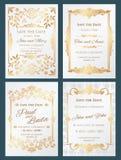 Spara för vektorbröllop för datumet de lyxiga korten för inbjudan med den guld- eleganta gränsramen vektor illustrationer