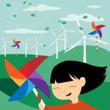 Spara jorden - grön energi för barn - illustrationen med e Arkivfoton