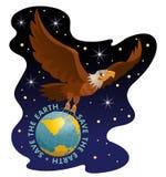 Spara jordillustrationen När du flyger örnen rymmer jordklotet mot bakgrunden av universumet stock illustrationer