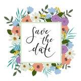 Spara kortet för datumhandbokstäver, bröllopinbjudan Modern kalligrafi royaltyfri illustrationer
