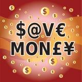 Spara pengar - bokstavs- och pengarvalutasymboler Arkivfoton